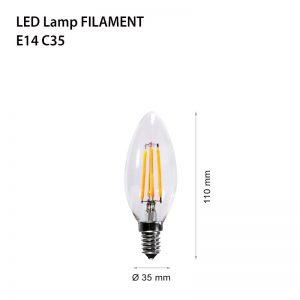 LED LAMP FILAMENT E14 4W FL C35-0