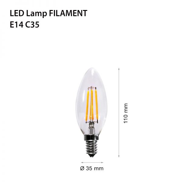 LED LAMP FILAMENT E14 4W FL C35-0