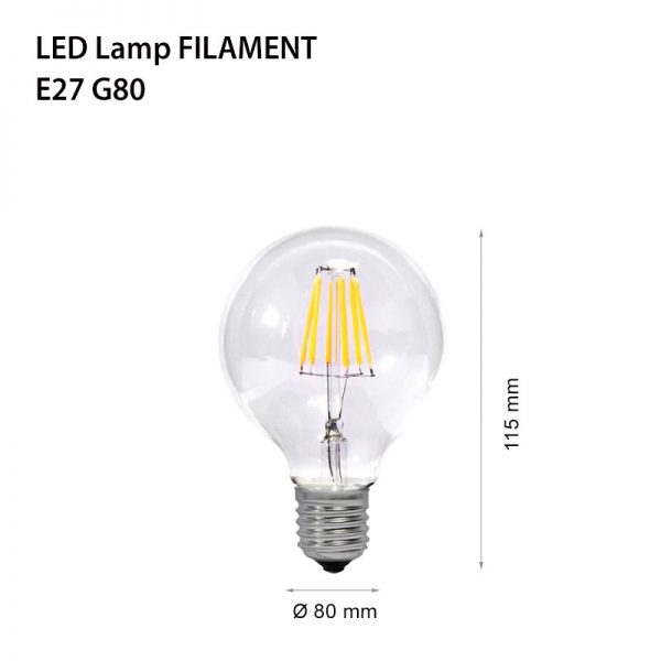 LED lamp FILAMENT E27 4W G80-0