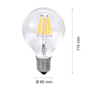 LED lamp FILAMENT E27 4W G80-0