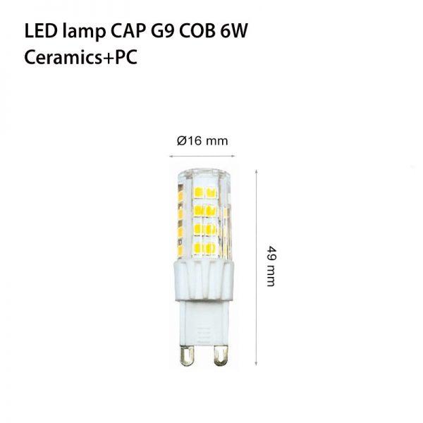 LED LAMP CAP G9 COB 6W Ceramics+PC 3000K-0