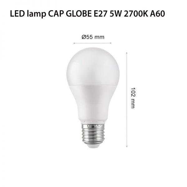 LED LAMP CAP GLOBE E27 5W 2700K-0