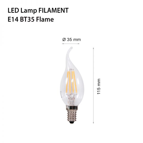 LED LAMP FILAMENT E14 2W BT35 Flame-0