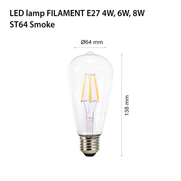 LED LAMP FILAMENT E27 6W ST64-0