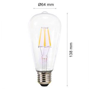 LED LAMP FILAMENT E27 6W ST64-0