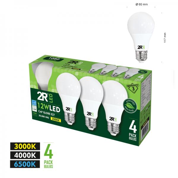 LED lamp CAP Globe E27 12W 6500K 4 pcs.-0