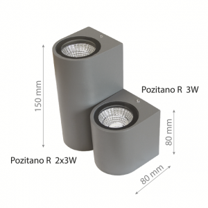 LED Wall lamp POZITANO R 2x3W DOUBLE IP44-0