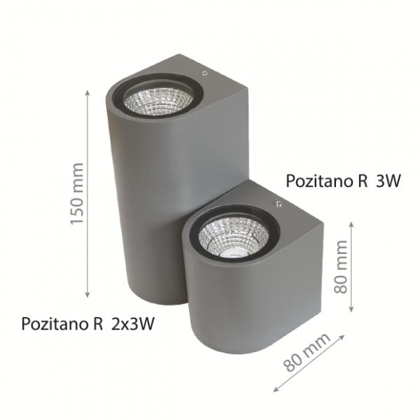 LED Wall lamp POZITANO R 2x3W DOUBLE IP44-0